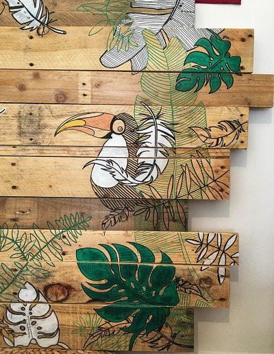 peinture-handmade-toucan-flamant-rose-palette-bois-atelier-pyli